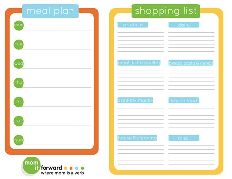 printable healthy meal planner weekly meal plan heart healthy food mom it forward
