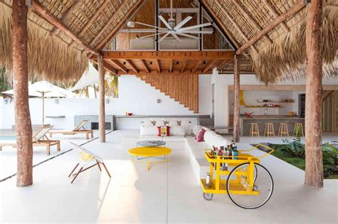 Home Design En El Salvador Colorful Tropical Open Home With Cut Thatched Roof