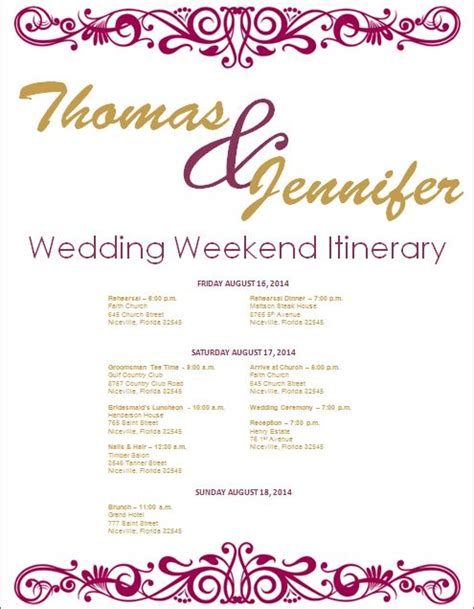 17 best ideas about wedding itinerary template on