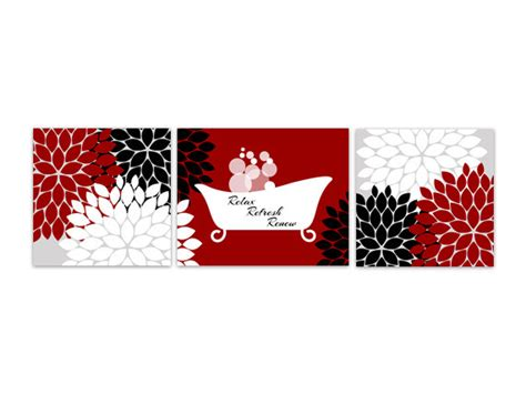 bathroom wall art red and black bathroom decor relax refresh