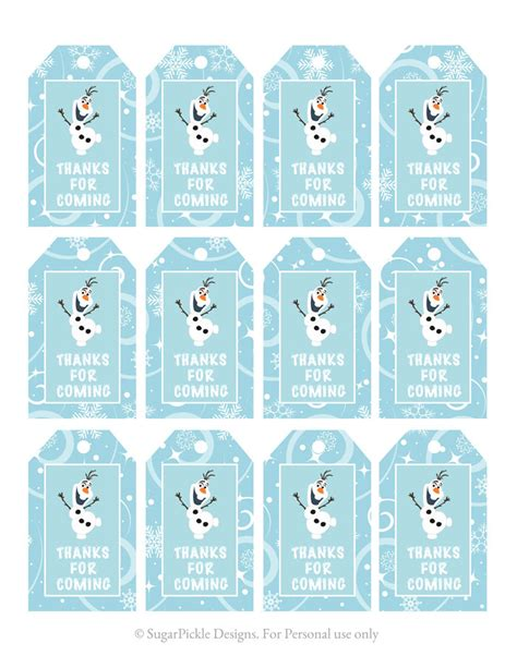 Printable Frozen Favor Tags | frozen favor tags thank you tags loot by