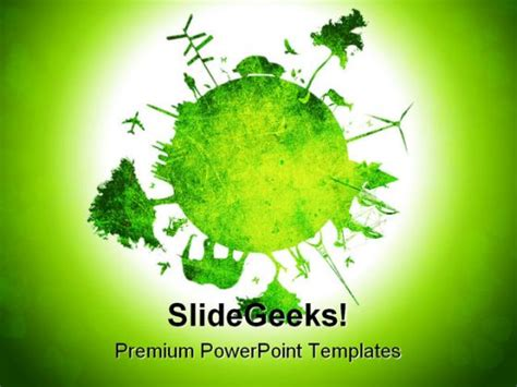 Green Planet Environment Powerpoint Template 0810 Save Environment Ppt Templates Free