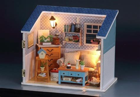 small dolls house diy led light small dollhouse warm living room miniatures
