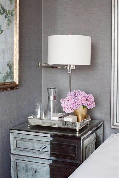 Nightstand Decor Ideas by Gray Mirrored Nightstands Design Ideas