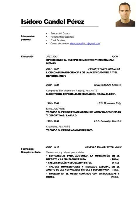 Modelo De Curriculum Vitae Actualizado 2012 En Word Curr 237 Culum Vitae Isidoro Candel Actualizado A Julio 2014