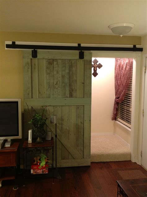 Rustic Interior Sliding Barn Door For Home In Green Interior Barn Doors For Homes
