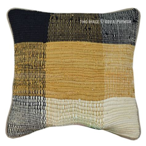 Handmade Throw Pillows - handmade recycled indian chindi decorative throw pillow