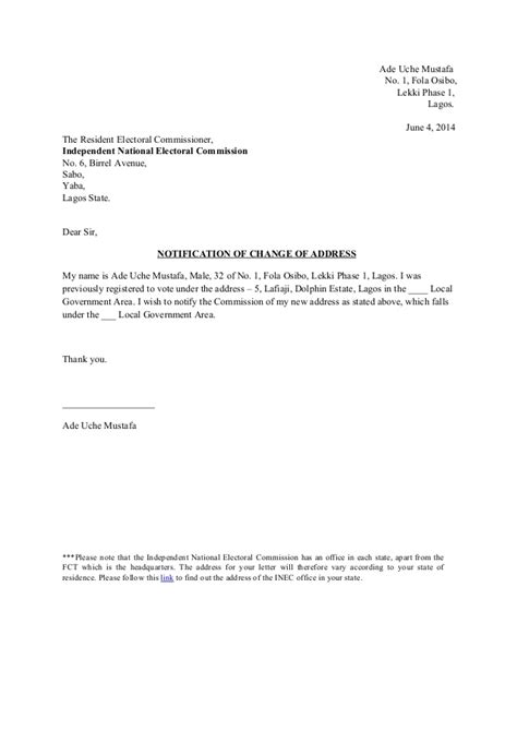 Change Of Address Notification Letter Template template change of address notification inec