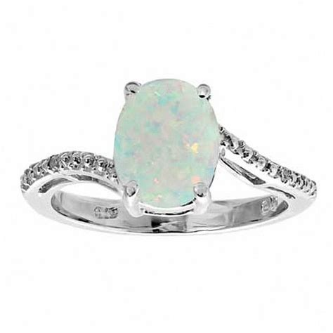 october birthstone opal diamonds custom oval lab created opal and accent ring in sterling