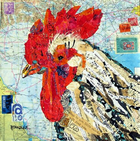 Paper Collage - nancy standlee rooster torn and painted
