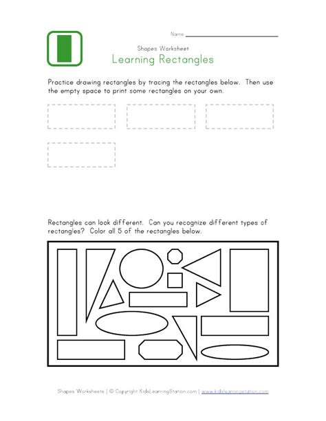Rectangle Worksheet by Rectangle Worksheet Learning Station