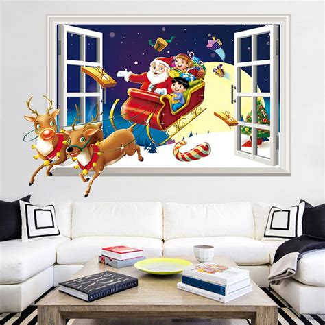 Feature Wall Stickers 3d christmas sled santa claus pattern window wall sticker