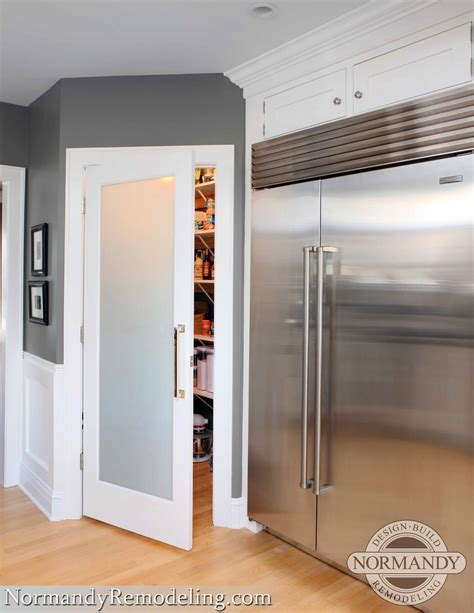 kitchen door ideas a frosted pantry door adds a stylish element to this gray