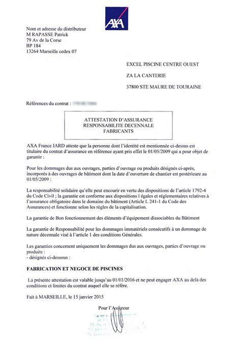 modele attestation garantie decennale document