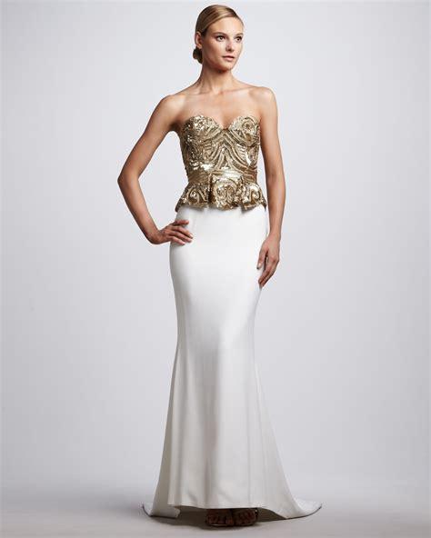 beaded corset top marchesa beaded corsettop gown in metallic lyst