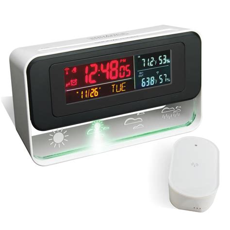 enhance weather and alarm clock with versicolor led display ebay