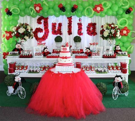 ladybug birthday table decorations image inspiration of