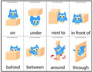 Flash Cards Paper Prepositions Of Place Teacher Adriana Gomez