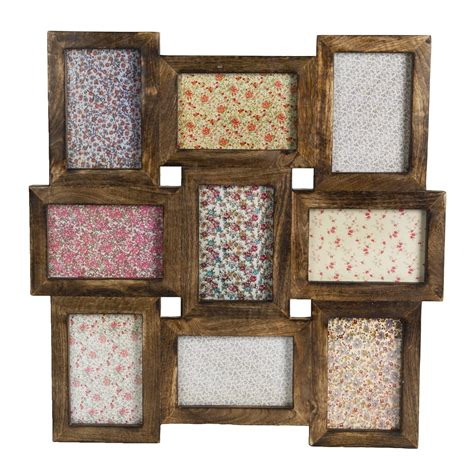 wood frame wall collage rustic wood multi photo frame
