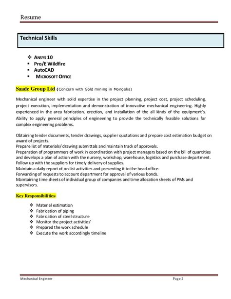 mechanical engineering resume format for experienced pdf globish me