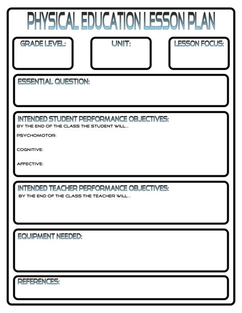 Pe Lesson Plan Template Blank by Lesson Plans Phys Ed Review