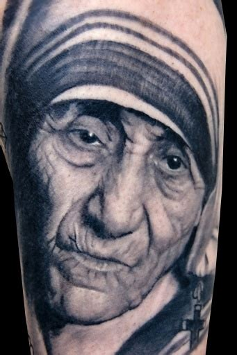 tattoo needle for portrait mother theresa tattoo by aaron bell at slave to the needle