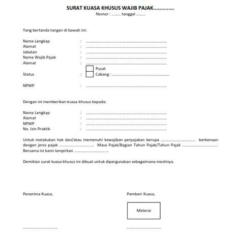 Format Surat Kuasa Khusus Wajib Pajak Excel | surat kuasa khusus pajak syarat ketentuan dan format