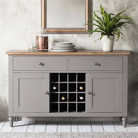 Storm Grey Sideboard with Wine Rack ? Primrose & Plum