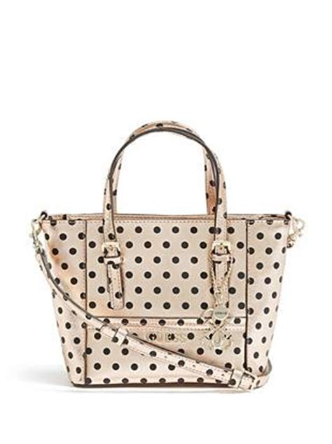 Tas Guess Polkadot delaney gold polka dot mini tote guess