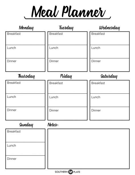 printable meal planning sheets free printable menu planner sheet southern plate