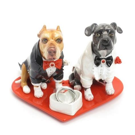 wedding cake topper american pit bull terrier lover