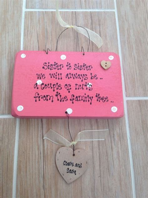 shabby personalised wooden chic plaque humorous sister any