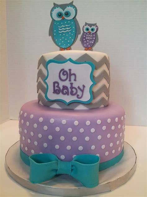 Purple Owl Baby Shower Decorations by Owls Baby Shower Cake Chevron Grey Purple And Teal Https