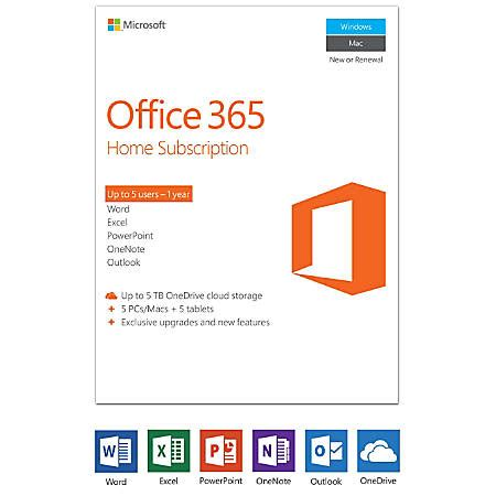 Office 365 Subscription Office 365 Home 1 Year Subscription 5 Pcsmacs Product Key