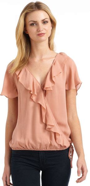Ulani Blouse joie ulani silk chffion ruffle drawstring blouse in pink