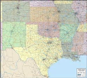 south central united states map wall map of south central states