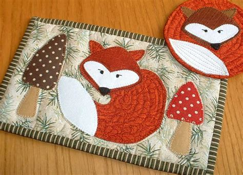 pattern quilted mug rug fox mug rug and coaster pattern sew and sell