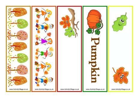 printable bookmarks fall autumn bookmarks mixed