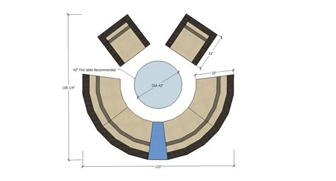 pit diameter outdoor sectional curved