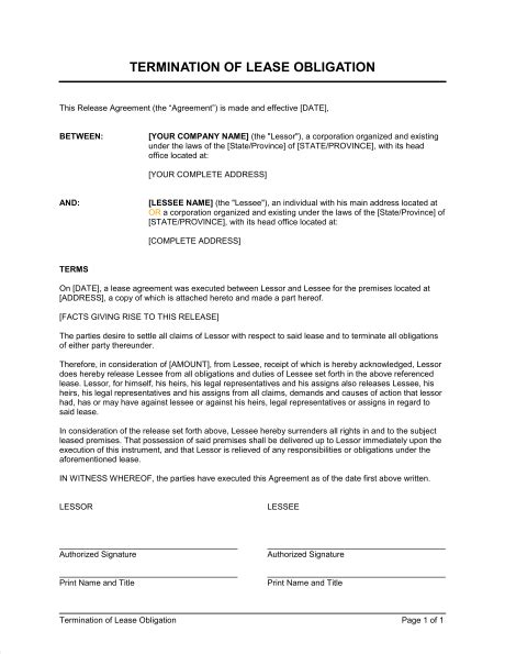 Release From Lease Agreement Letter Termination Of Lease Agreement Form Free Printable Documents