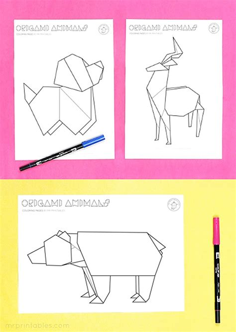 free printable origami animals origami animal coloring pages mr printables