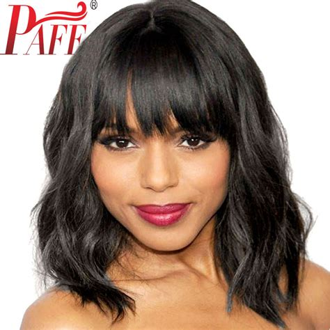 pics of body wave bobcut with bangs shorter hair paff short wavy full lace human hair wig with bangs remy