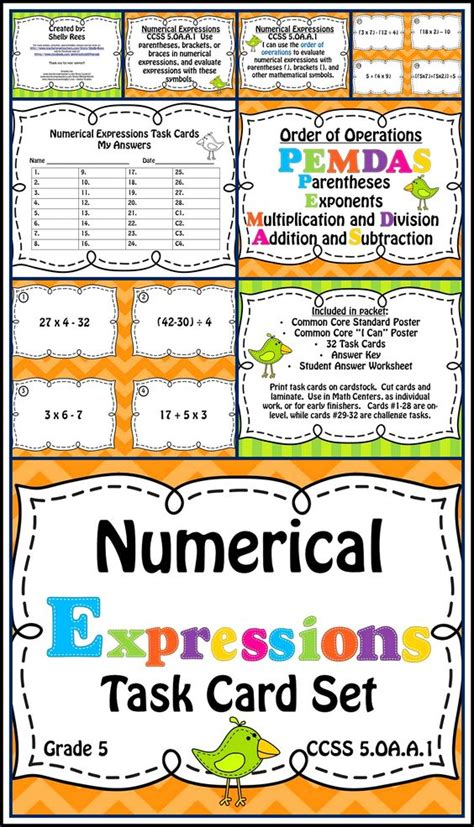 Common Card Kartu Challenge Set order of operations task cards numerical expression