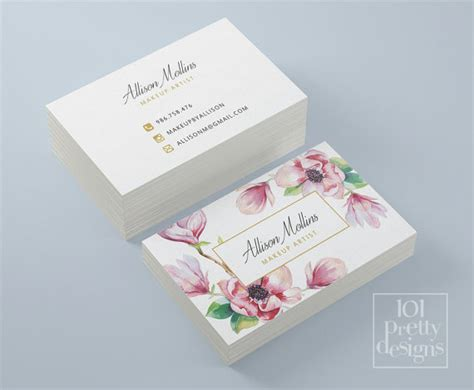 floral business card design flowers business card