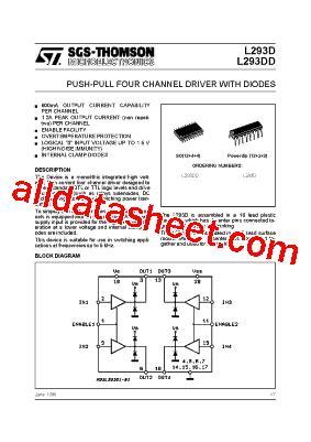 data sheets transistor pdf l293d datasheet pdf stmicroelectronics