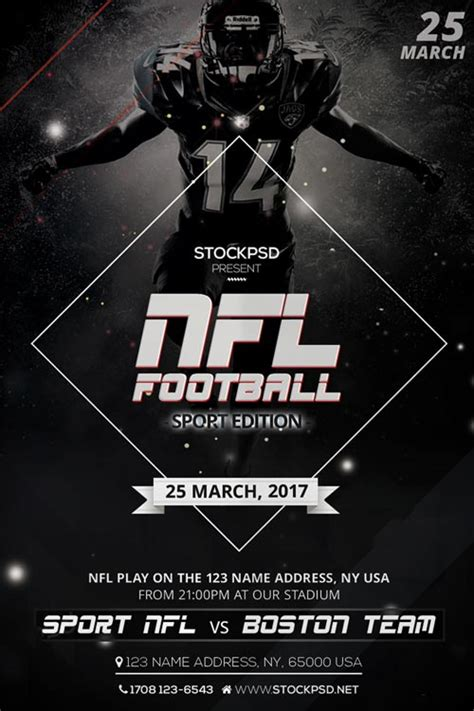 free football flyer templates nfl football free flyer psd template freebie