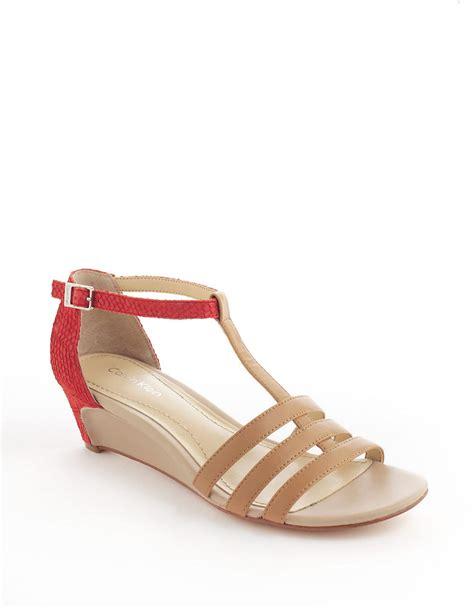 calvin klein wedge sandals calvin klein ellie leather wedge sandals in beige lyst