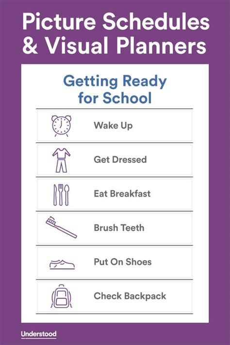 printable daily schedule for adhd child download sle picture schedules and visual planners
