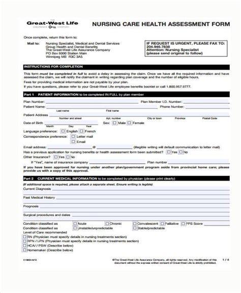 nursing assessment forms 7 nursing assessment form sles free sle exle