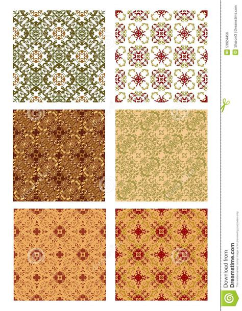 nostalgic colors set of vintage art deco background decorative tile stock